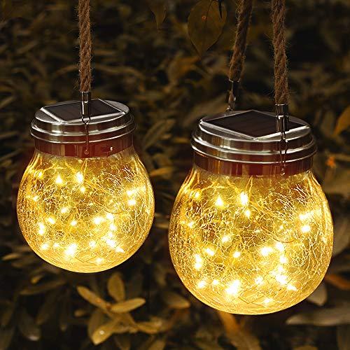 JSOT Solarlampen für außen, 30 LED Gartendeko Vintage Solarlicht Balkon Deko Laterne Wasserdichte Hängeleuchten für Garten Patio Partei Geschenkideen, 2 Stück