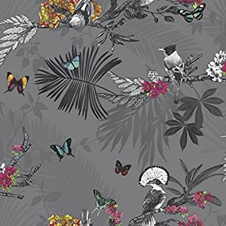 Arthouse 664800 Mystical Forest Wallpaper, Slate, 53 cm x 10.05 m