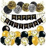 Anniversaire Bannière Noir Or Décoration Anniversaire Baudruche avec 1 Happy Birthday Banderole 17 Ballons en Latex 8 Pompons en Papier pour Fille Garçon
