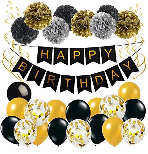 eko Happy Birthday Girlande Spiralen Deko Pompoms und Luftballons Gold Schwarz mit Gold Konfetti Ballons für Geburtstag Partydeko Set 32 Stück ()