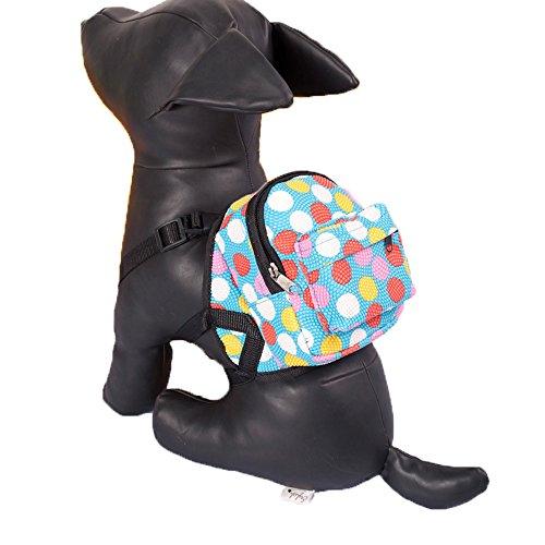 Porlik Hund Rucksack Geschirr mit Leine Set, Multicolor Punkte Rucksack Design Puppy Outdoor Rucksack Reißverschluss Tagesrucksack, Passt auf Kleine Mittelgroße Hunde.