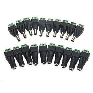WINOMO 10 paire mâle et femelle DC Power Jack adaptateurs pour caméra CCTV