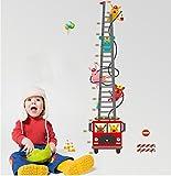 Ufengke® Dessin Animé Camion De Pompiers Pompier Toise Stickers Muraux, Chambre Des Enfants Pépinière Autocollants Amovibles...