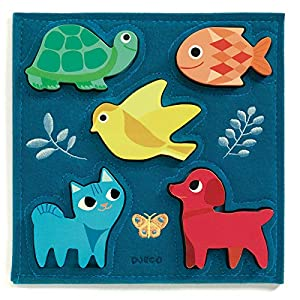 DJECO- RompecabezasPuzzles encajables y rompecabezasDJECOEncajable Gataki, Multicolor (15)