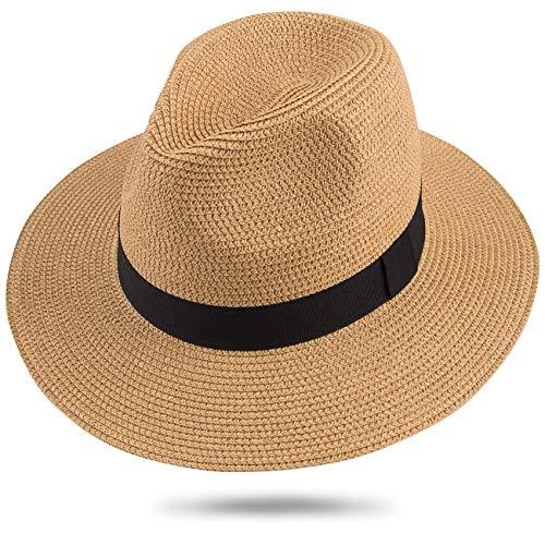 mer Panama Strohhut, Urlaub UV Schutz Hut for Sommer Strand Draussen Ferien (Khaki FK) ()