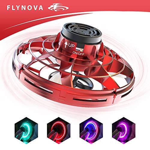 suroper Flynova Flying Spinner Toy Stressabbau Spielzeug Handbetriebene Drohne Spielzeug USB-Aufladung RGB-LED-Lichtern Spiele Lernspielzeug Ideal für Kinder, Erwachsene,Gruppen,Indoor,Im Freien Rot