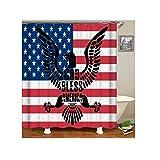 Bishilin Antischimmel 3D Duschvorhang 150x180 Amerikanische Flagge Badezimmer Duschvorhang
