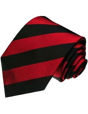 Lorenzo Cana–Corbata de lujo de 100% seda–exclusiva handgefertigte corbata–Rojo Negro Rayas–84278