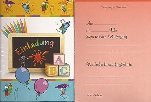 Einladungskarten Einladungen zur Einschulung - Schulanfang 5 Stück mit Innentext