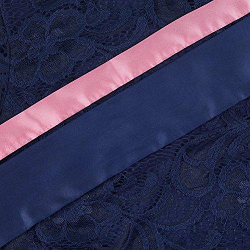 Herzmutter Umstands-Spitzen-Kleid, Elegantes-Knielanges Schwangerschafts-Kleid für Festliche Anlässe, mit Spitze aus Baumwoll-Mix, Creme-Weiß-Dunkelblau (6200) (Dunkelblau) - 3