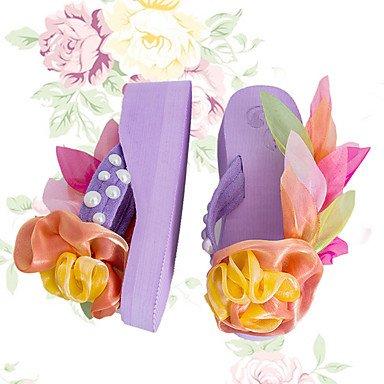 Zhenfu Femme Pantoufles & Amp; Flip-flops Été Pu Extérieur Décontracté Talon Plat Satin Fleur Lacets Violet Blanc Vert Fuchsia Violet