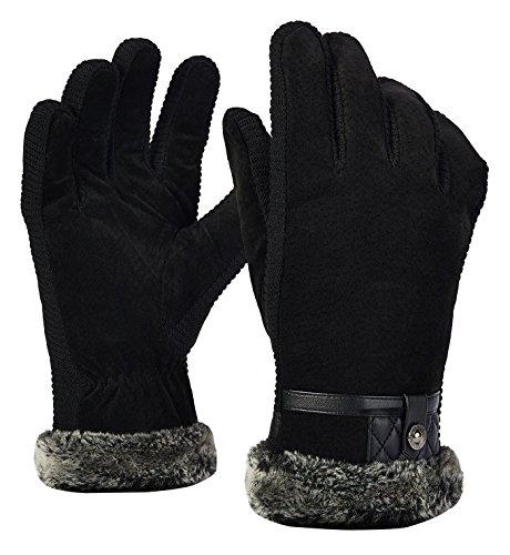 ALLFOND Herren Schweinsleder Leder Handschuhe Winddicht Atmungsaktiv Skihandschuhe Winterhandschuhe mit Fleecefutter für Snowboard Fahrrad Skifahren (Schweinsleder-mode)
