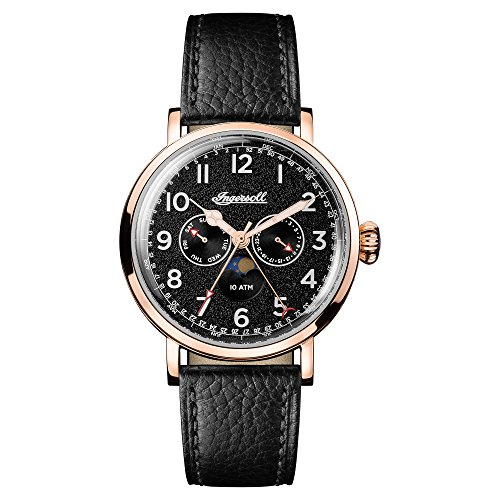 Ingersoll Men's The St Johns Quartz Watch withSchwarz Dial andSchwarz Leather Strap I01602
