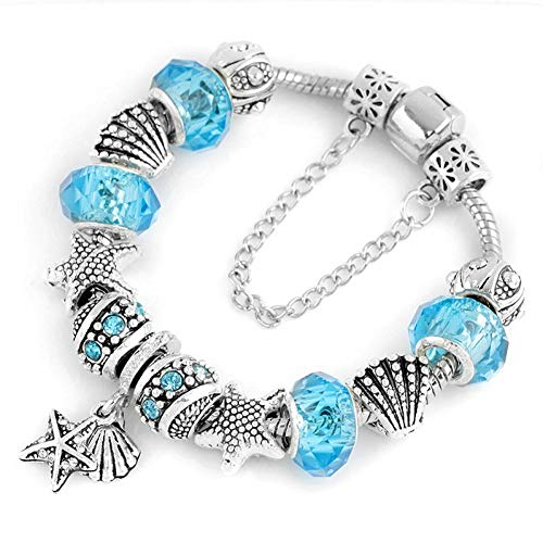 YANOUHZ Gold Kristall Perlen Charms Armband Für Frauen Mit Sicherheitskette Strang Armband Armreif Geschenk