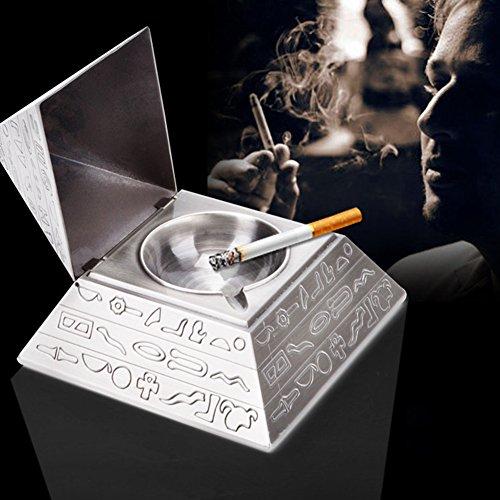 Pyramid Aschenbecher mit Deckel Zigarette Aschenbecher Pub Aschenbecher Tischplatte Retro Carving für Innen-Außeneinsatz Halter Raucher Desktop Rauchen Tablett HOME OFFICE Decoratio Kreative Persönlichkeit Trend
