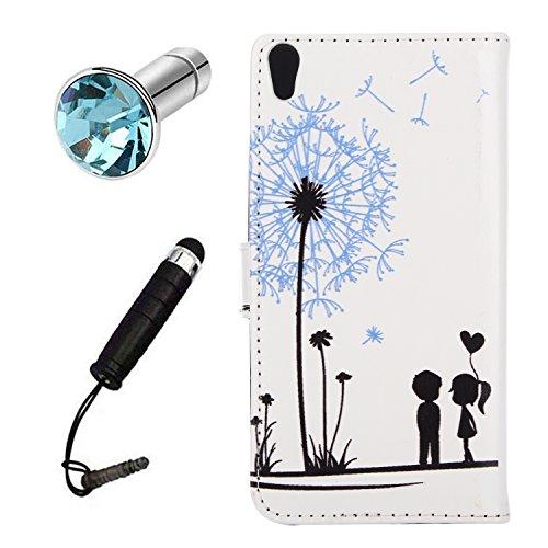 Lusee® PU Kunstleder Tasche für Sony Xperia E5 5.0 kunstliche Ledertasche mit silikon Hülle Löwenzahn -Liebhaber