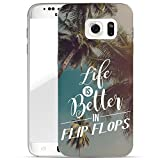 Finoo Samsung Galaxy S6 Handy-Tasche Schutzhülle | ultra leichte transparente Handyhülle aus flexiblen Silikon | stylisches TPU Cover Case mit Motiv | Life is better in Flipflops