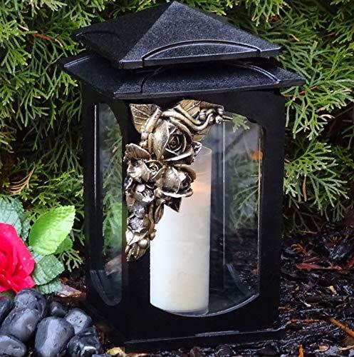 ♥ Grablaterne Grablampe Rose Massiv 28,0cm Schwarz Bronze incl. Grabkerze Grablicht Grabschmuck Grabdekoration Grableuchte Laterne Kerze Lampe Rosen