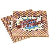 Ginger Ray joyeux anniversaire de serviettes en papier - Pop Art Superhero Décoration