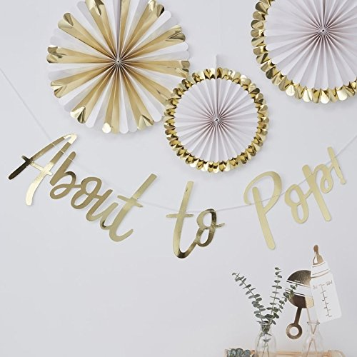 GOLD FOILED ABOUT TO POP BUNTING - OH BABY! - Cake Pops Shower Baby