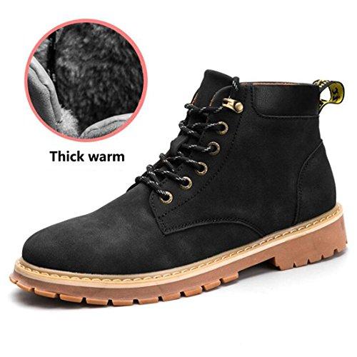 Martin autunno e inverno high-top stivali alti per aiutare gli scarponi da uomo britannico utensili imbottiti di neve in cotone cashmere black