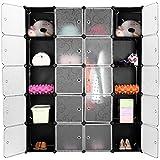 Armario Modular, Estantería por Módulos, Armario de Almacenaje, Para Ropa, Zapatos, Juguetes y Libros, Color Blanco y Negro, 20 Cubos