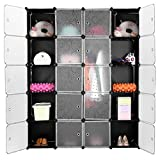 LANGRIA Interlocking Plastic Wardrobe Cabinet Opaque Curly Patterned 20-Cube Storage with Translucent Doors for Personal Items, Clothes, Shoes, Toys and Books, 147 x 37 x 178cm, Black and White