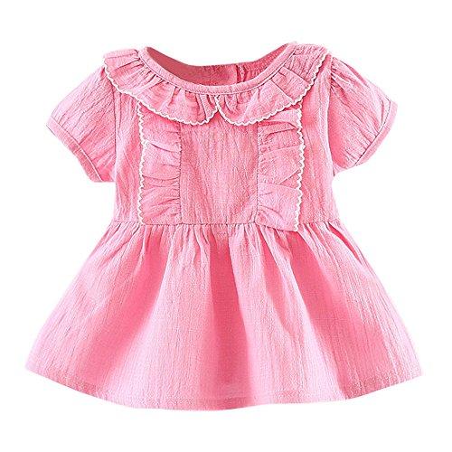 (JUTOO Kleinkind Kinder Baby mädchen Kurzarm ethnischen Stil Kleidung Party Prinzessin Kleider (Hot Pink,100))