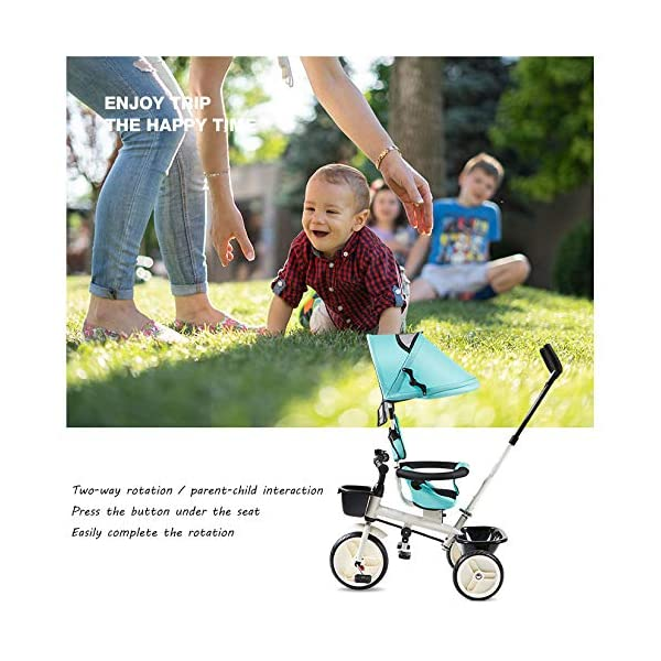 BGHKFF 4 In 1 Children's Hand Push Tricycle 1 To 6 Years 360° Swivelling Saddle Children's Pedal Tricycle Folding Sun Canopy 2-Point Safety Belt Folding Footrests Child Trike Maximum Weight 25 Kg,Red BGHKFF ★Material: Steel frame, suitable for children aged 1-6, maximum weight 25 kg ★ 4 in 1 multi-function: can be converted into a stroller and a tricycle. Remove the hand putter and awning, and the guardrail as a tricycle. ★Safety design: Golden triangle structure, safe and stable; front wheel clutch, will not hit the baby's foot; 2 point seat belt + guardrail; rear wheel double brake 3