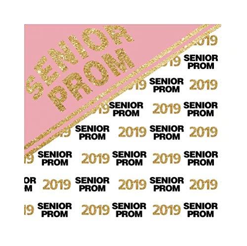 Cassisy 1,5x1,5m Vinyl Fotohintergrund Senior Prom 2019 Banner Gold Pailletten Rosa weißer Hintergrund Fotoleinwand Hintergrund für Fotoshooting Fotostudio Requisiten Photo Booth