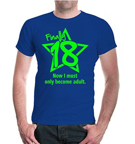 buXsbaum® T-Shirt Finally 18 Royal-Neongreen