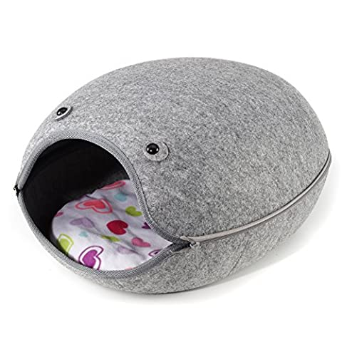 Cat Bed house Igloo pet cave cats small dog washable with inner cushion (Grey)
