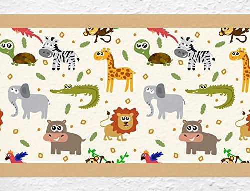 I-love-Wandtattoo b-10178 Kinderzimmer Bordüre 'Bunte Safari Tiere' Junge Mädchen Wanddeko Wandaufkleber Wandsticker Wandtattoo