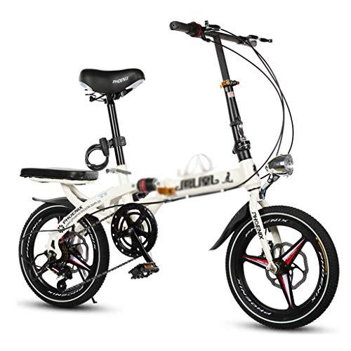 Pocket bikes sportives Vélo Pliant vélo Unisexe 16 Pouces 20 Pouces Disque Freins Sport Portable vélo (Color : Blanc, Size : 20 inch)