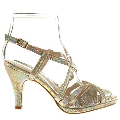 Angkorly Damen Schuhe Sandalen Pumpe - Sexy - Schlangenhaut - String Tanga - Glänzende Trichterabsatz 9 cm Gold
