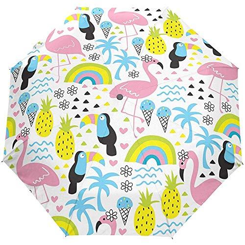 Sommer Strand Palmen Vögel Flamingo Tropical Auto Öffnen Schließen Regenschirme Anti UV Folding Compact Automatic Umbrella