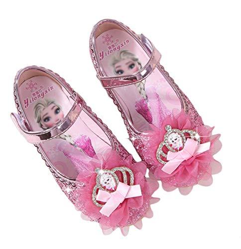 AISHANGYIDE Kinder Mädchen Prinzessin Flache Schuhe Kristall Schuhe ELSA Sandalen Frozen Eiskönigin Kostüm Zubehör Partei Glitzer Pailletten Ballerina Lederschuhe Festlich Hochzeit Karneval Cosplay (Ballerina Kostüm Elsa)
