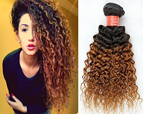 35,6 cm ~ 61 cm vierge Braziian deux tons Cheveux humains crépus bouclés Trame de cheveux col : # 1B/30