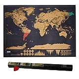 Scratch le Monde, HTIANC Carte du Monde à Gratter, Scratch Map Carte du monde avec Petite Raclette pour Grattez les Endroits que Vous Avez Visité - 83 x 60 cm - Noire - (L'édition de Deluxe)