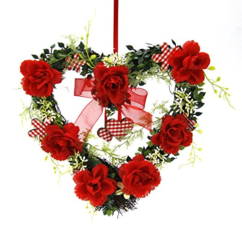 Flair Flower Herz Rosen Kranz, Stoff, rot, 25 x 26 x 6 cm