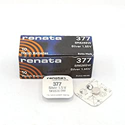 Renata 377 Watch Batteries Box Of 10, Made In Switzerland