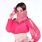 Wgwioo Belly Dance Tribal Face Veil With Beads Costume De Halloween Accessoire Women'S Ciryl Flower Style . Rose Red . 1