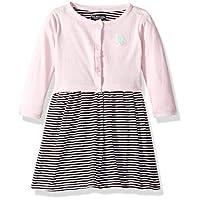 يو.اس. بولو اسن . ملابس للبنات مكونة من قطعتين Striped Flutter Sleeve Baby Pink 3T