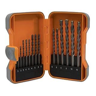 Masonry Drill Bit Set - 15 Piece Kit in Plastic Storage Case