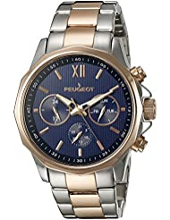 Para hombre Peugeot acero inoxidable y de oro rosa y cristales reloj multi-función de brillantes