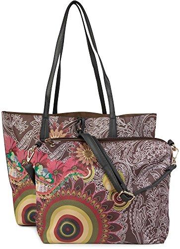 styleBREAKER Handtaschen Set mit Ethno, Blumen und Paisley Muster, Shopper und Umhängetasche, Tasche, Damen 02012043, Farbe:Dunkelbraun (Blumen-print-handtasche)