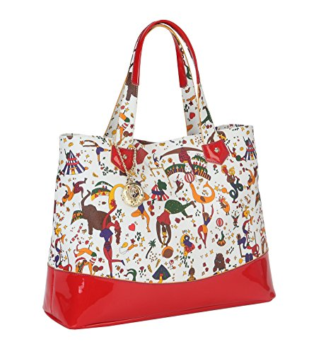 Shopper Grande con riporti in pelle colorata PIERO GUIDI Magic Circus Donna - 21C324030 Frutti Rossi