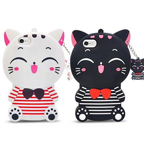 IPhone 7 Case, 3D three-dimensional cartoon silicone series lying lying bear/black cat/white cat, couple models phone case for iphone 7(4.7-inch) (Pink bears) White cat lady