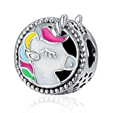 925Sterling Silber Emaille Einhorn Charms Colorful durchbrochener Animal Faith Charms Passform Schlange Kette Armband