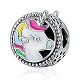 Argent sterling 925Unicorn Charms colorés en émail ajouré Animal Faith Charms pour bracelet Chaîne serpent